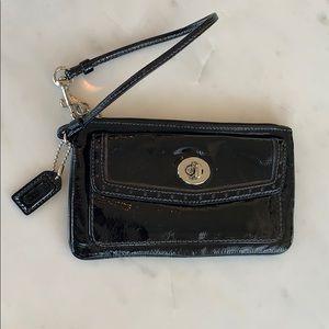 COACH patent black leather wristlet - like new!